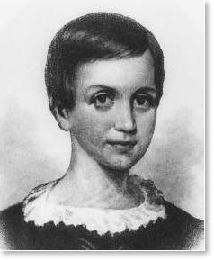 10歳の頃のエミリー・ディキンソン。ハーバード大学ホートン図書館のディキンソン展示室より